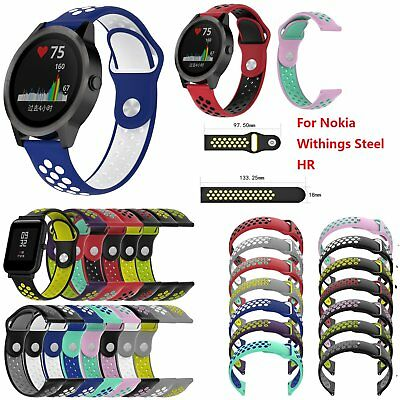 Silicone Watch Band Sport Wrist Strap for Nokia Withings Steel HR S/L 14 Colors