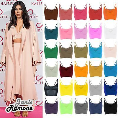 New Womens Plain Wrap Over Bra Strap Bralet Tops Cami V Neck Shoestring Crop Top