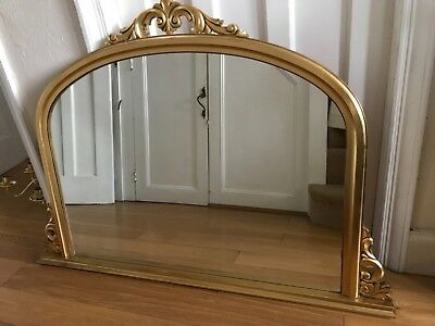 Gold Carved Wood  Over Mantle Mantelpiece Fireplace Large Mirror