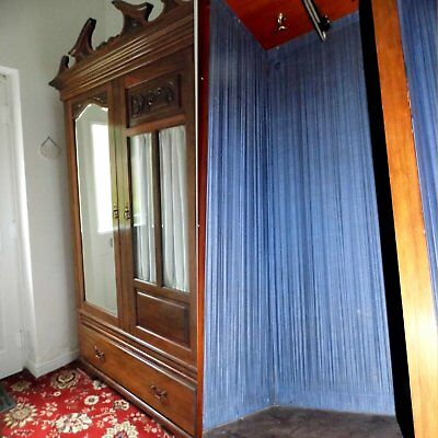 Rosewood Victorian Double Wardrobe - mirror, glazed doors, original silk lined