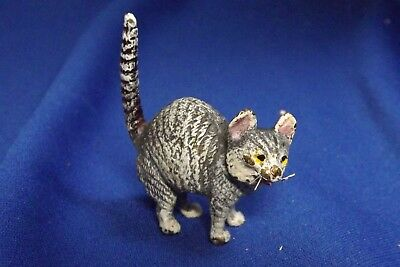 "Vintage To Antique Vienna Bronze Arched Back Cat W/ Wiskers 2 "" High Great Paint"