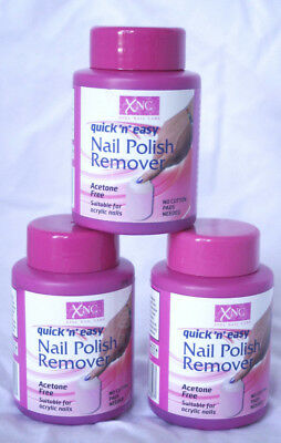 3 x Nail Varnish Remover Sponge Pots - Quick 'n' Easy - Acetone Free - 75ml