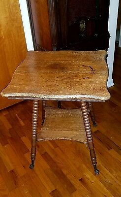 """Antique Quarter Sawn Tiger Oak Parlor Table with Glass Claw Feet 29.5"""""""