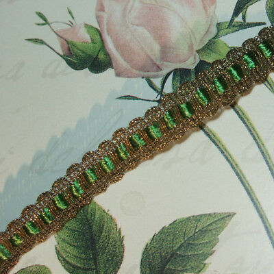 Gold Metal Trim w silky Green Tape for ruching ribbon work antique vtg lace 5/8""