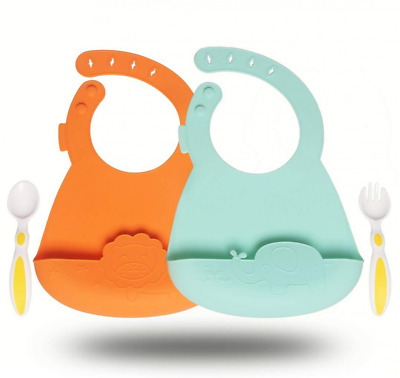 Silicone Baby Feeding Bibs Set of 2 - Waterproof Adjustable Snaps One Spoon&Fork