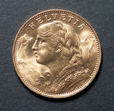 Swiss Gold Coin 20 Francs 1922-B Helvetia Frosty Choice Gem BU Sharp .1867 oz