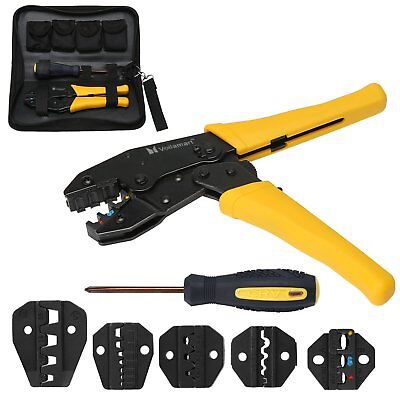 Voilamart Crimping Tool Kit Terminal Ratchet Plier Crimper 5 Interchangeable Die