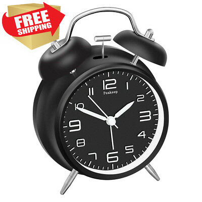 """Peakeep 4"""" Twin Bell Alarm Clock with Stereoscopic Dial, Backlight, Battery..."""