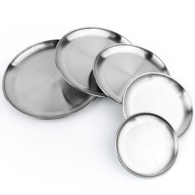 Stainless Steel Dinner Plate Round Heavy Duty Camping Picnic Food Container