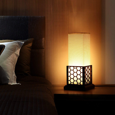 Modern Asian Style Bedside with Solid Wood Frame Fabric Shade Table Desk Lamp US