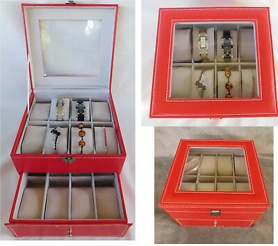 Red Coral Watch or Bracelet Jewelry Box 2-Tier Faux Leather 8x8x 6.5 (16 slot)