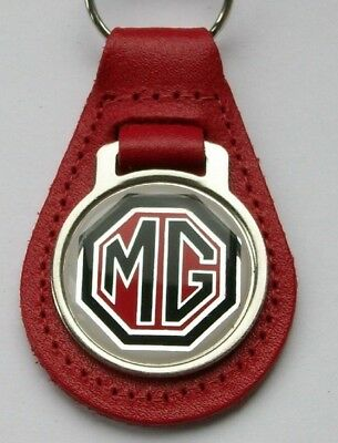 MG  red leather keyring