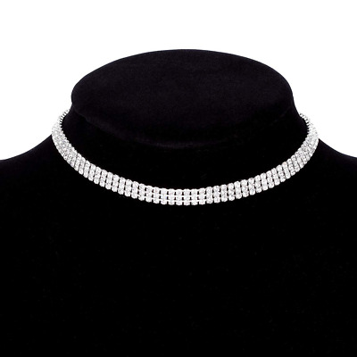 Luxury Womens Clear Rhinestone Crystal Silver Choker Necklace Collar Adjustable