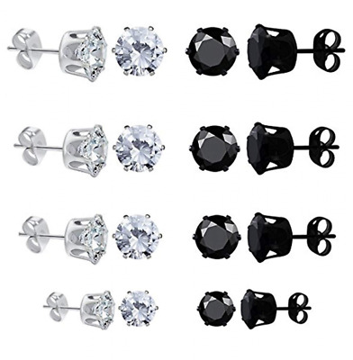 4mm-8mm 8 Pairs Womens Mens Round Stud Earrings Clear Cubic Zirconia Inlaid NEW