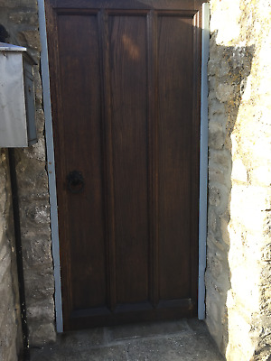 Antique Victorian salvaged solid oak church door gate ex-Manchester Cathedral