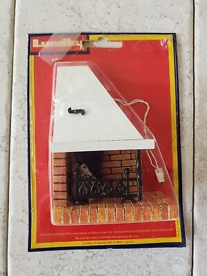 Vintage Lundby Dollhouse Miniature Corner Electric Fireplace In Package