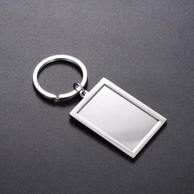 Photo Frame Keychains Rectangle Insert Picture Key Ring Creative Metal Chains