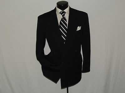 HUGO BOSS solid black 1990's classic Double Breasted men's wool jacket coat 38 R