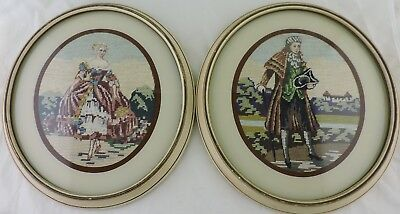 Antique Victorian Needlepoint Petit Point Man Woman Oval Frame Wall Hanging Pair