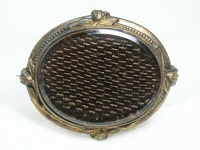 """Antique Gold Filled Victorian / Georgian Woven """"Mourning Hair"""" Brooch~C-Clasp"""
