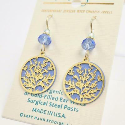 Adajio Earrings Shiny Gold Plated Floral Design Over Blue Disc Handmade 7910