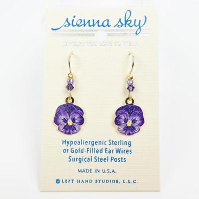 Sienna Sky Earrings 14K Gold Filled Hook Purple Pansy Flower Handmade in USA
