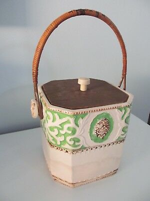 Vintage Ceramic Biscuit Cookie Jar JAPAN Rattan Handle Carved Knob