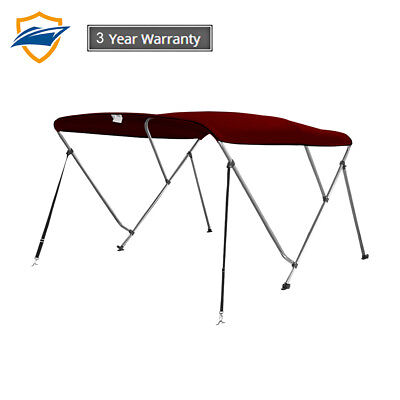 3 Bow Bimini Boat Top Cover with storage boot, Color Burgundy, w/support poles