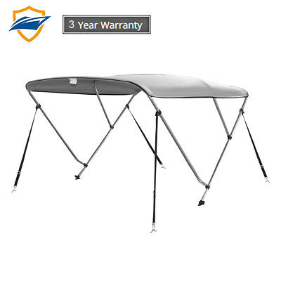 """3Bow Bimini Boat Top Cover with storage boot, Color Gray, 6'L x 46""""H x 85""""-90""""W"""