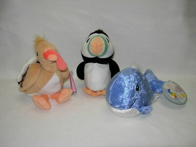 Precious Moments Tender Tails Lot of 3  BLUE WHALE  PUFFIN TURKEY  Beanbag plush