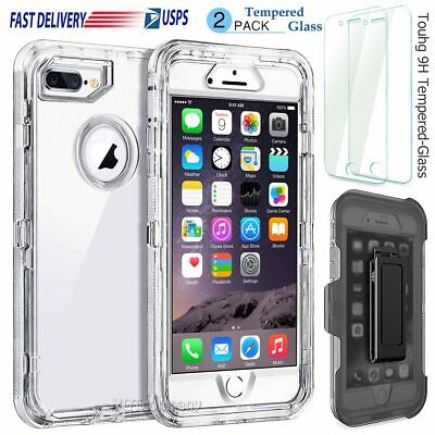 iPhone XS Max 8 7 6s Plus Transparent Clear Defender Cover Case +Clip Belt/Glass