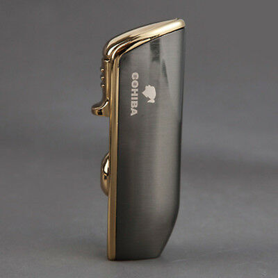 COHIBA Metal 3 TORCH JET-FLAME CIGAR Cigarette LIGHTER WITH PUNCH Promotion