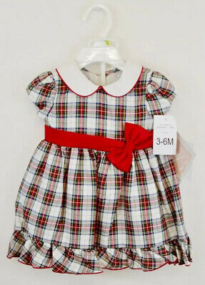 f6fe543d20574 bonnie jean bonnie baby infant 3-6 month plaid holiday christmas dress nwt