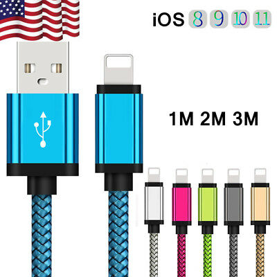 US 3~10ft USB iOS Braided Woven Strong Data Lightning Cable Charging For iPhone