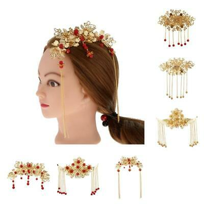 Vintage Tassel Beads Crystal Hair Comb Women Wedding Headpiece Hair Accessories