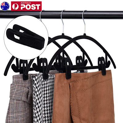 20PCS Velvet Hanger Clips Strong Grip Clothes Pants Rack Finger Clip Non Slip AU