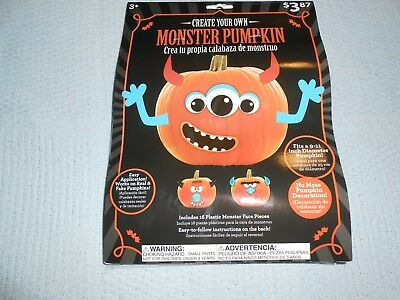 Create Your Own Monster Pumpkin Includes 16 Plastic Monster Face Pieces New L@@K