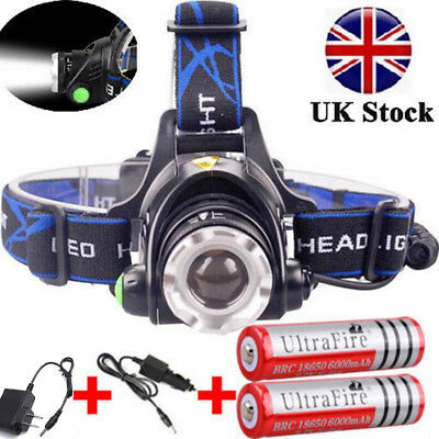 Zoomable 90000LM Headlight Torch T6 LED Headlamp Light Lamp+Charger+18650Battery