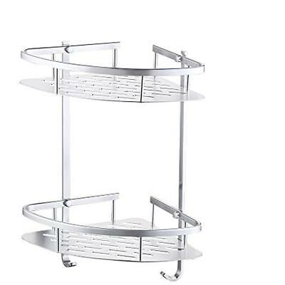 A4022B Tub And Shower Large Corner Basket Two Tier With Wall Mount Aluminum
