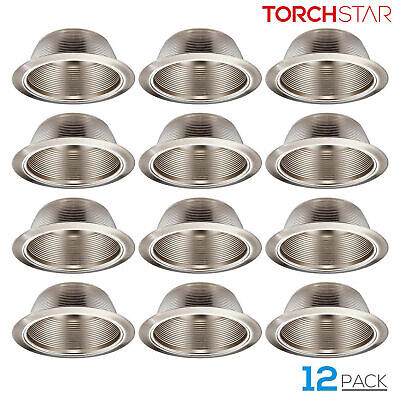 6 Inch Recessed Can Light Trim with Satin Nickel Metal Step Baffle, Pack of 12