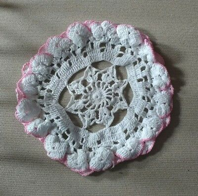 "Handmade 9""  white & pink vintage doilie doily doiley crochet lace round"