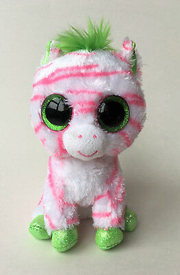 """Ty 2012 Beanie Boos Sapphire 6"""" Pink White & Green Zebra Horse Justice Exclusive"""