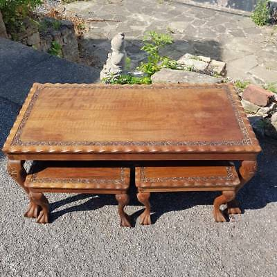Beautiful Vintage Carved Hardwood Coffee Table & 4 Matching Nest Tables/Stools