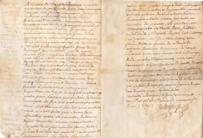 Rare 4pp skin parchment manuscript notary letter deed signed and stamped