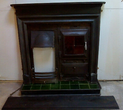 Victorian Cast Iron Kitchen Cooking Range Facia with Hearth and Mantle Shelf