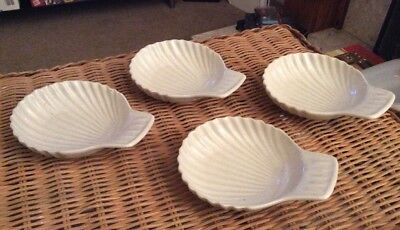 VINTAGE SHELL DISHES SET OF 4 CERAMIC SHELL SHAPED BOWLS 15cms