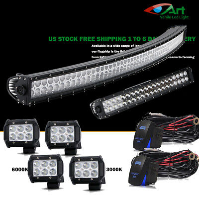 """52""""300W Curved LED Light Bar+22""""+4""""Pods for Tractor Pickup Ford GMC Offroad Jeep"""