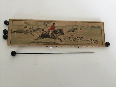 Antique Vintage The Hunt Toilet Pins English Made Glass Heads Hat/Sewing Pins