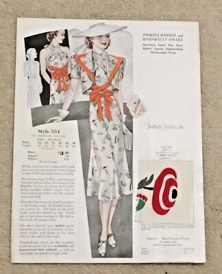 Vintage 1938 Fashion Frocks Cinti Oh Catalog Page; Clothes Women's Dress