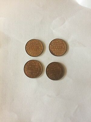 Nice collection of 4 uncirculad British Indian King Gorge V & VI 1/4 An. coins